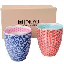 Set 2 mug té japonés Wave rojo