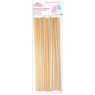 Set 25 bastonets de fusta per cotó de sucre