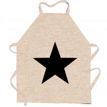 Delantal lino 70x80 natural Estrella negro