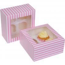Juego 2 cajas para 4 cupcakes Rosa circo
