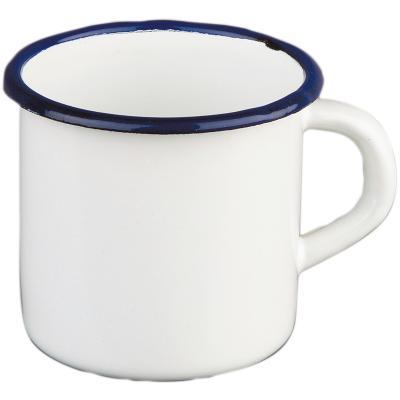 Tassa retro acer esmaltat blanc blau