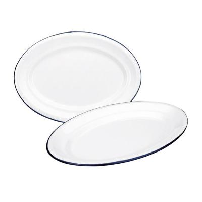 Safata oval retro acer esmaltat blanc blau