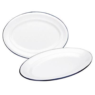 Bandeja oval retro acero esmaltado blanco azul