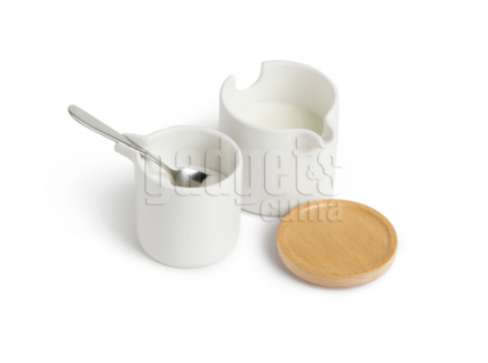 Set salsera i sucrera blanc amb tapa i cullera