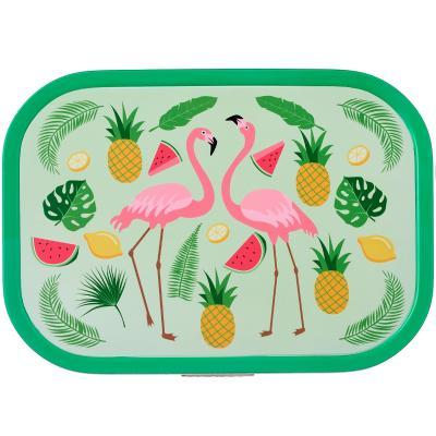 Fiambrera mitjana Lunchbox tropical flamingo