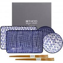 Set sushi 4 piezas y palillos blue Nimes