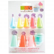 Set 8 boquillas y adaptador plástico colores