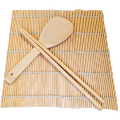 Set 3 peces esterilla sushi mat bambú 24x24 cm
