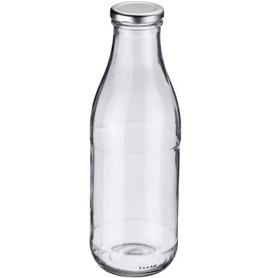 Botella zumos y leche cristal con tapa