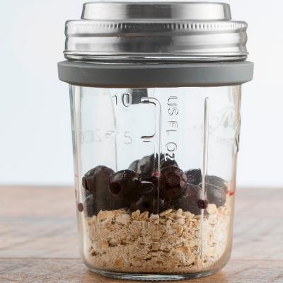 Pot de vidre esmorzar amb tapa i cullera 350 ml