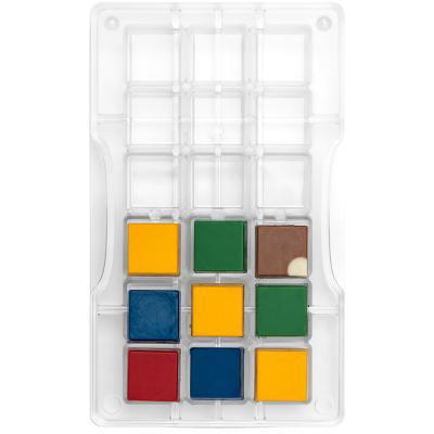Motllo policarbonat per bombons Quadrats x18