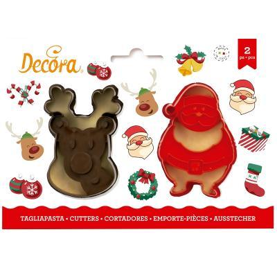 Set 2 talladors galetes plàstic Santa i Ren