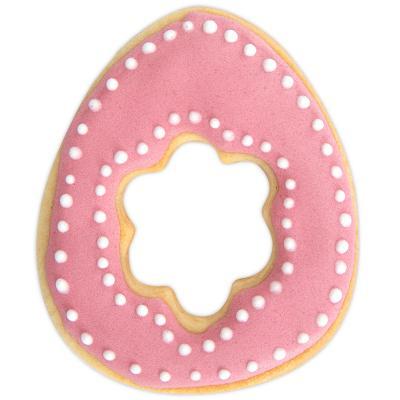 Tallador galetes Ou amb flor 7 cm