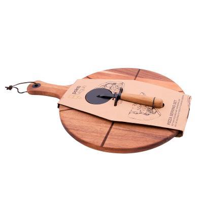 Set regal pizza fusta acàcia i tallador