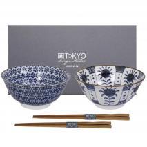Set japonés 2 boles motivos azules tayo y palillos