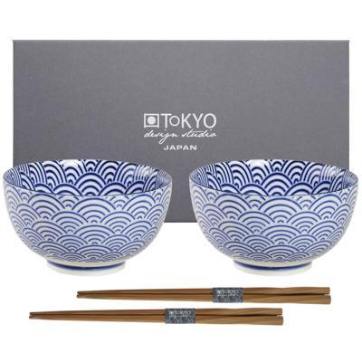 Set japonès blau 2 bols arròs ona