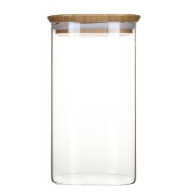 Bote cocina cristal borosilicato y tapa bambú