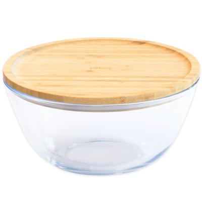 Tupper cristal borosilicato redondo con tapa bambú Pebbly