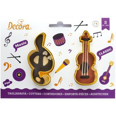 Set 2 talladors galetes plàstic Clau sol i violí