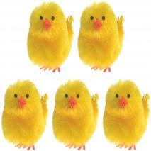 Set 5 pollitos amarillos Pascua 40 mm