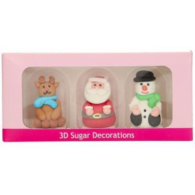 Set 3 decoracions de sucre 3D Nadal