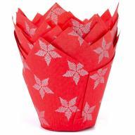 Paper cupcakes x36 Tulipa vemell estrelles