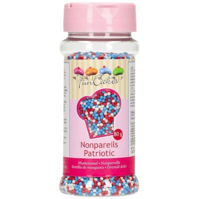 Sprinkles vermell, blau i blanc 80 g