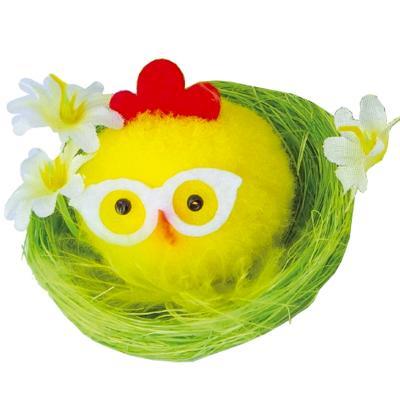 Pollet groc amb ulleres i cistella Pasqua 6 cm