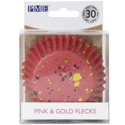 Paper cupcakes metal.litzats x30 taques rosa or