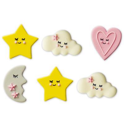 Set 6 decoracions de sucre Baby rosa