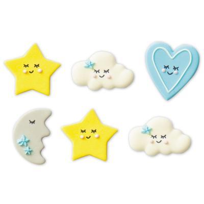 Set 6 decoracions de sucre Baby blau