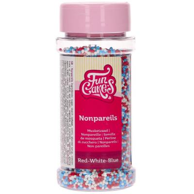 Sprinkles nonpareils Funcakes 80 g blau blanc verm