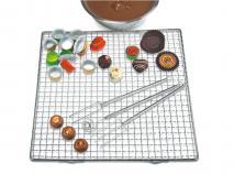 Juego 4 utensilios praliné chocolate con reja