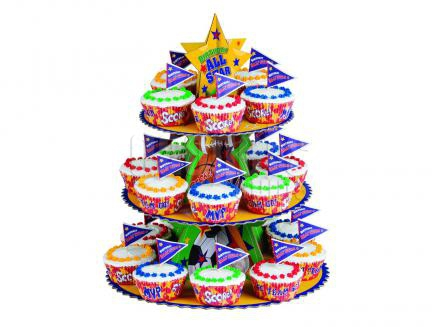 Juego expositor cupcakes Sports 3 pisos