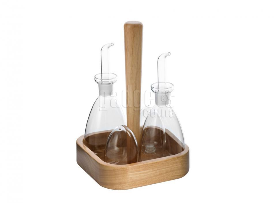 Juego aceiteras con soporte madera natural gadgets cuina - Aceiteras de cristal ...