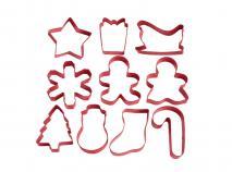 Set 10 cortadores galletas rojos Navidad