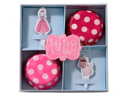 Papel cupcakes x40 y toppers x20 Princess