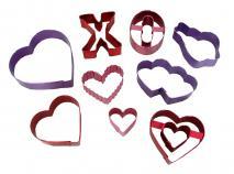 Juego 9 cortadores galletas anodizados San Valentí