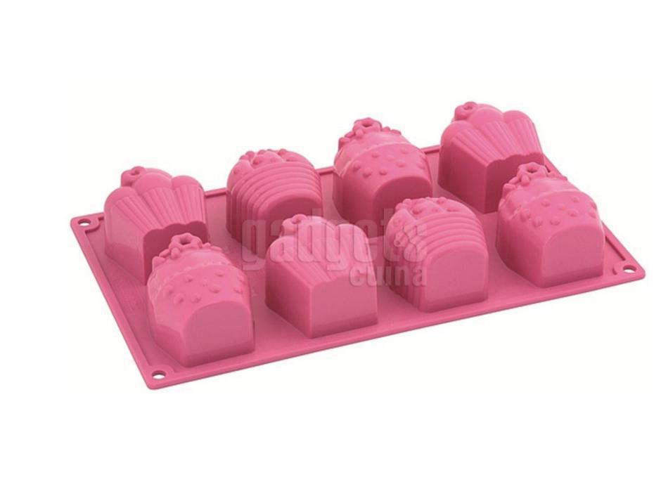 Molde silicona rosa 8 cav cupcakes gadgets cuina - Moldes cupcakes silicona ...