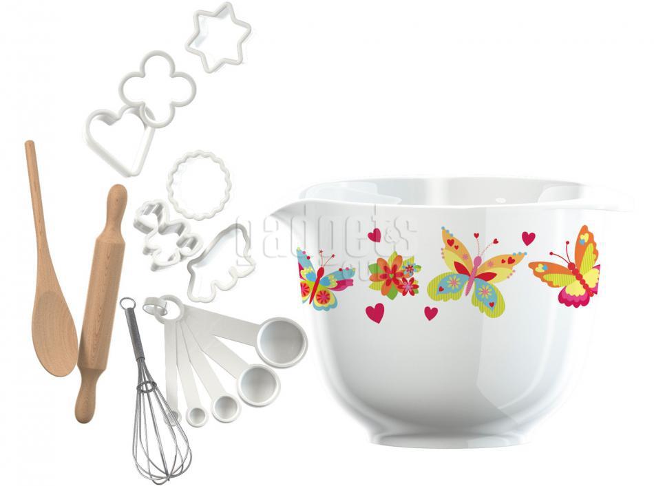 Juego de cocina bol y utensilios mariposas gadgets cuina for Juego utensilios cocina