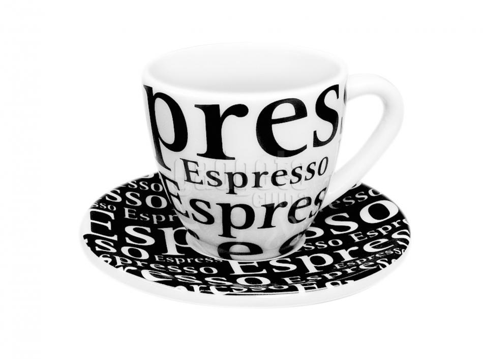 Set 4 tazas espresso blanco 7 cl letras gadgets cuina for Tazas para espresso