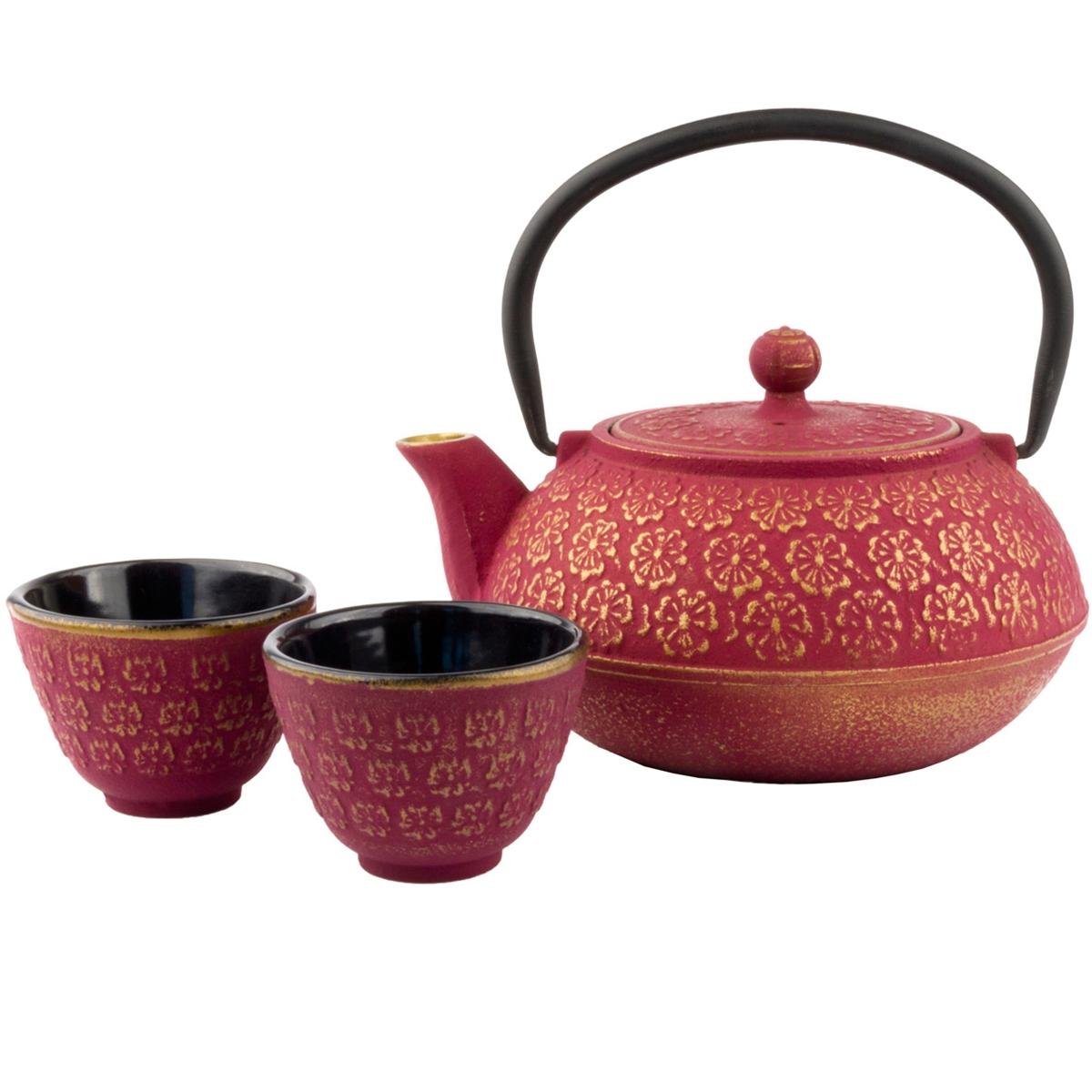 Set tetera shangai con filtro y 2 tazas hierro fundido - Tetera japonesa hierro fundido ...