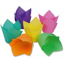 Papel cupcakes tulipa Colors x12