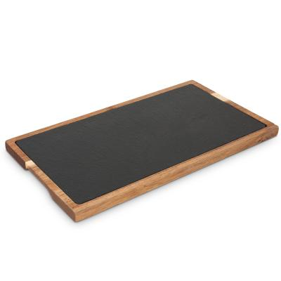 Tabla pizarra con base acacia 30x10 cm