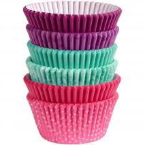 Papel cupcakes x150 Turquesa, púrpura y rosa