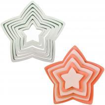 Juego 6 cortadores galletas Estrellas plástico PME
