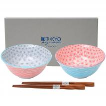 Set japonés Wave 2 boles tayo y palillos