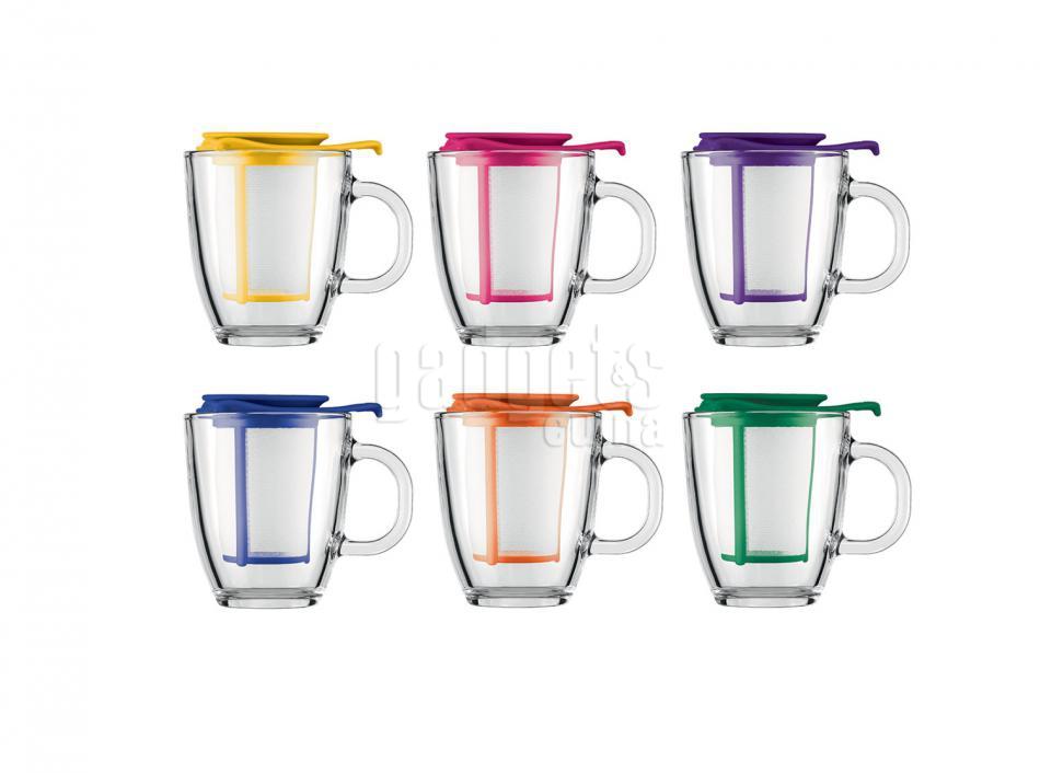 Juego yo yo taza bodum con filtro colors 350 ml gadgets for Tazas de te con tapa