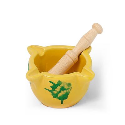 Mortero miniatura amarillo tradicional 8 cm