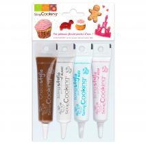 Set 4 tubos decoración chocolate e icing